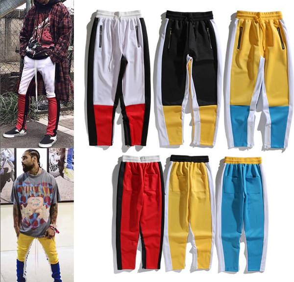 En gros 2019 printemps et automne streetwear pantalon de brouillard pantalon à glissière latérale de couleur assortie concepteur hommes mens joggeurs peur de Dieu pantalon