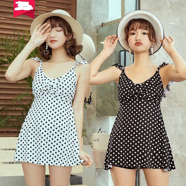 Swimming Suit Women Bikini 2019 One-piece Sexy Polka Dot Skirt Hot Spring Suit Swimwear With Chest Pad ZH0062