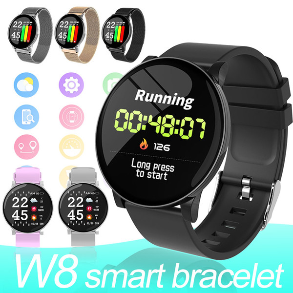 top popular W8 Smart Watches Android Watches Men Fitness Bracelets For Women Heart Rate Monitor IP67 Waterproof Sport Watch for phones with Retail Box 2020