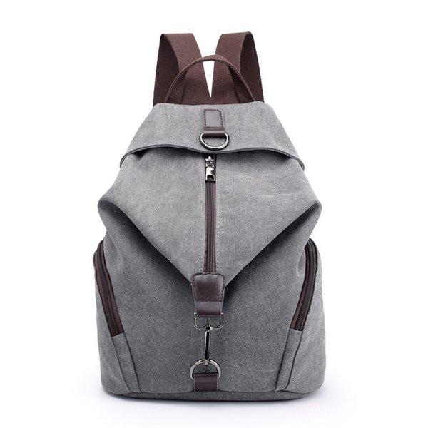 Fashion Casual Canvas Women Backpack Solid Large Capacity Female Backpacks Brand Designer Zipper Travel Bag Girl School Backpack J190706