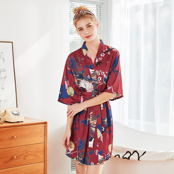 2019 Silk Satin Robes for Brides Wedding Robe Women Sleepwear Pijama Casual Bathrobe Floral Rayon Sexy Nightgown Girls Kimono