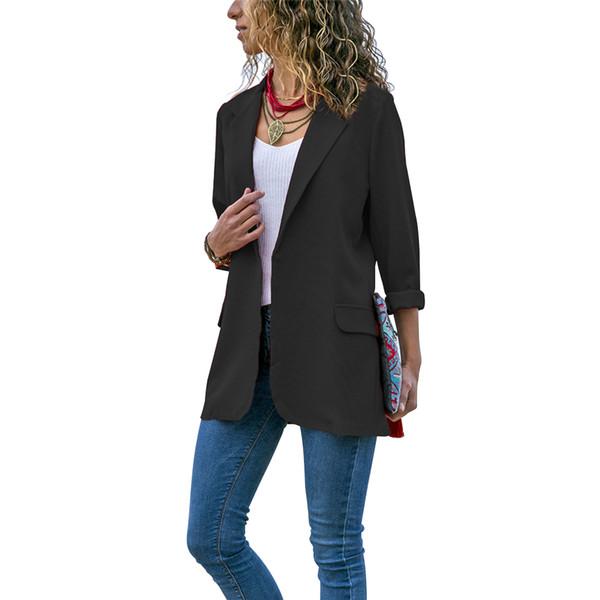 Women Blazer Solid Spring Pocket Slim Fit Autumn Office Casual Long Sleeve Outwear Turn-down Collar