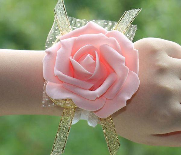 Fiore rosa da polso a mano da donna Fiore da polso da polso a fiore rosa PE Fiore rosa damigella d'onore per donna