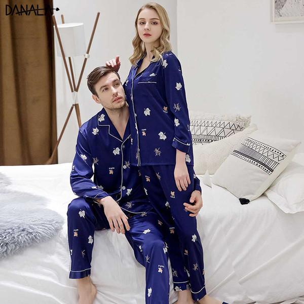 DANALA Paar Nachtwäsche Nachtwäsche Sets Seidensatin Paar Pyjamas Sets Für Frauen Vogue Tiere Blumendruck Erfrischende Anzüge