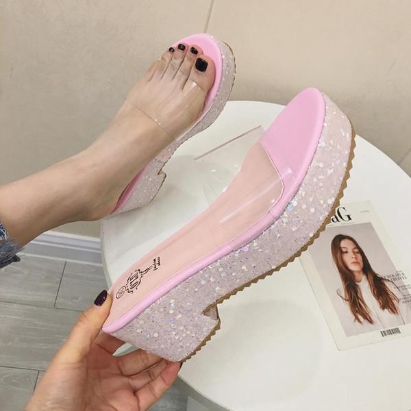 Zapatos para mujer y sandalias Mujer Zapatillas de cuña Diapositivas de color rosa Tacones altos Zapatillas Plataforma de playa Sandalias Plataforma