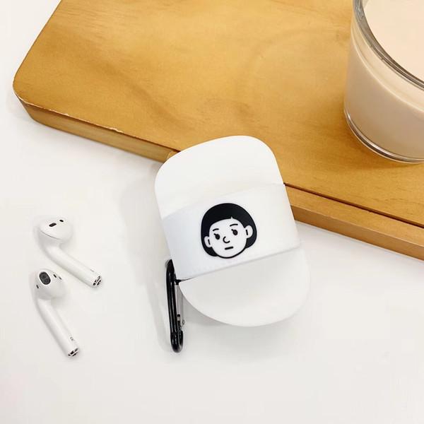 Casais bonitos chinelos case para apple airpods capa dos desenhos animados bluetooth fone de ouvido case para air pods headphone case box silicone capa branco presentes