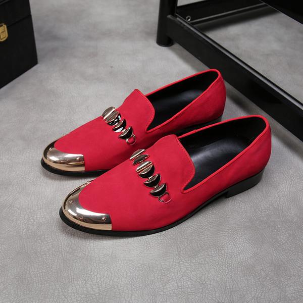 Mocasines de los hombres de cuero de gamuza de la vendimia encanto de metal vestido de fiesta caballero paty masculino zapatos de baile pisos masculinos resbalón en zapatillas de fumar