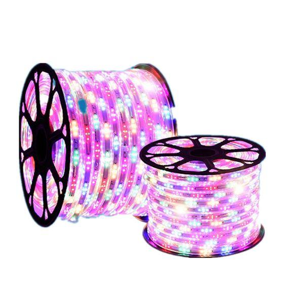 Led Şerit 5050 SMD RGB 220 V 6 renkler 2835 SMD su geçirmez Şerit esnek bant lamba tira Led fita led rgb pc ambilight tri