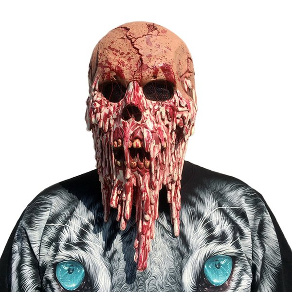 Scary Bloody Zombie Mask Melting Face Adult Latex Costume Walking Dead Halloween Horror Face Head Mask Fancy dress up Drop Shipping