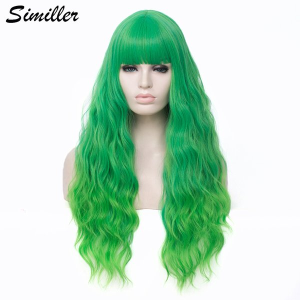 similler long curly synthetic wigs for cosplay ombre color two tones green root high temperature fiber with bangs, Black
