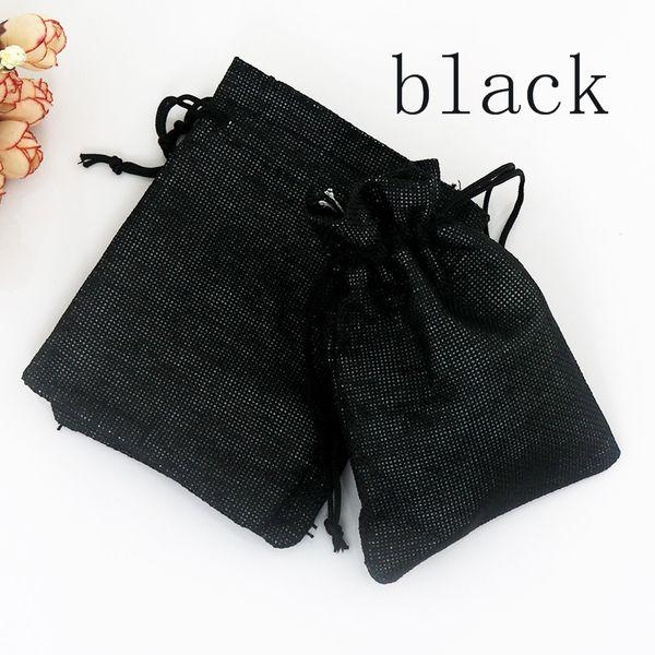 Dark Black Drawable Jute Bag 10Pcs/Lot 13x18cm Bags For Storage Wedding Gift Pouch Drawstring Burlap Bags Candy Bead Bags