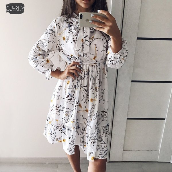 Elastic High Waist Party Dress Bow A Line Women Full Print Flower Sleeve Floral Dress Female Designer Clothes