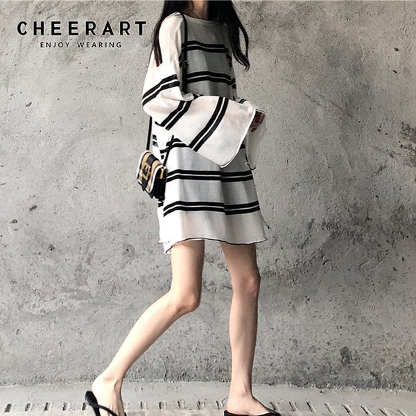 cheerart seethrough loose beach blouse striped plus size  flare sleeve black and white knitted blouse long sleeve