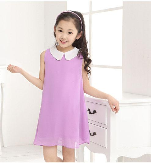 Children's clothing 2019 summer chiffon sleeveless clothes girl candy color dress 2-10 years old baby girl clothes