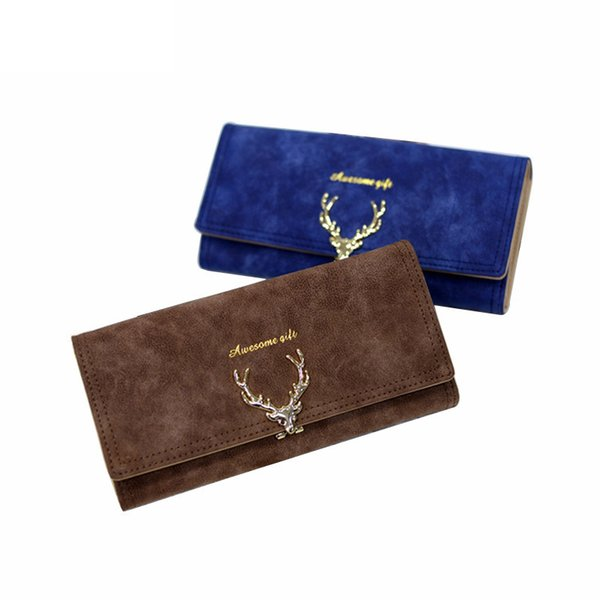 good quality 2019 Fashion Wallet Female Women Purse Long Zipper Solid Candy Color Metal Christmas Deer Wallets Pu Card Holders
