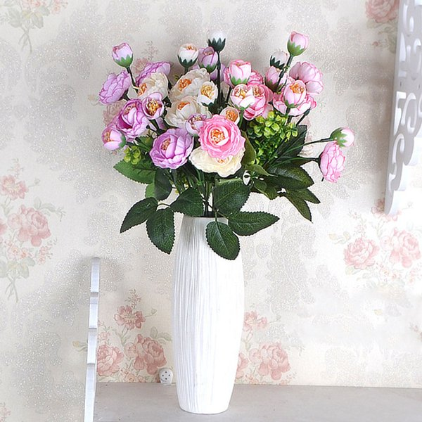 7 Forks 14 Heads Rose Artificial Flower Bouquet Silk Fake Flower for Wedding Party Supply Home Decoration Mariage Fake Flores