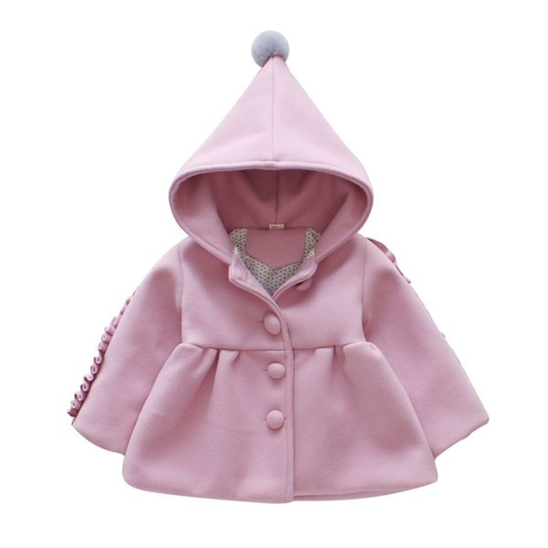 O-neck Solid Cute 2019 Pink Girl Clothing Jackets Coats Fashion New Casual Girl Outerwear Long Sleeve Kid Children Clothes jk189