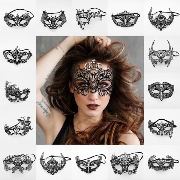 Женщины Венецианская партия маски мода черный металл Рождество платье костюм показывает свадебный Маскарад половина Маска игрушка TTA1593