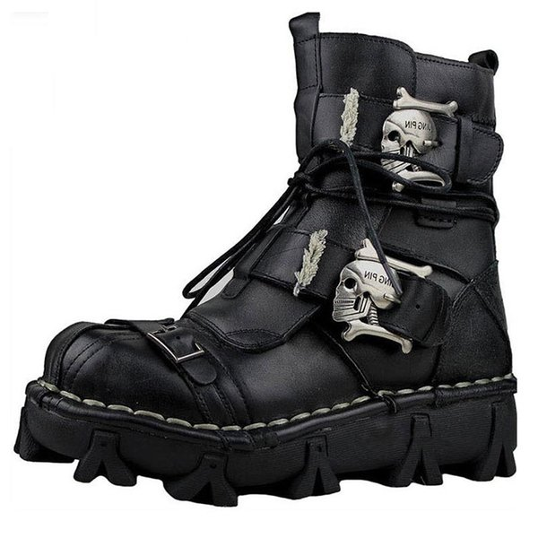 Plus Size Fashion Cowhide Genuine Leather Military Uniform Boots Gothic Skull Punk Martin Platform Mid-calf Boots Steampunk Shoes