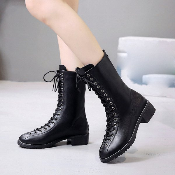 Perimedes Boots Women's Rivets Shoes Leather Middle Boot Platform Round Toe Lace-Up Boots bota feminina