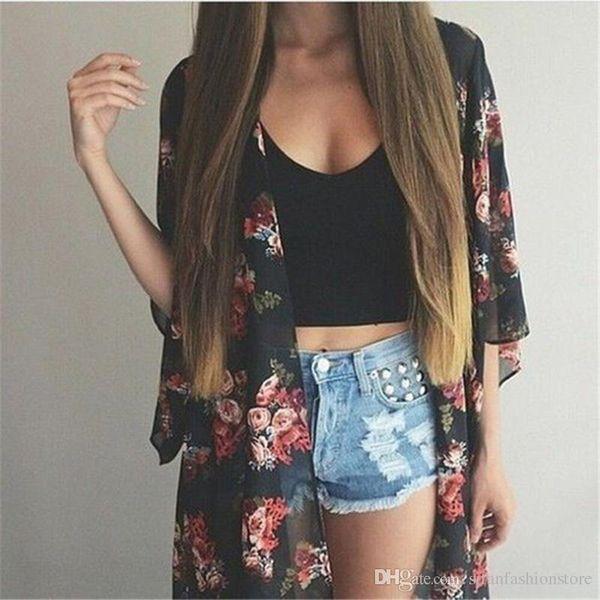 Frauen Casual Vintage Kimono Cardigan Damen 2019 Sommer lange häkeln Chiffon Kimono Preto lose Flora gedruckt Bluse Tops schwarz