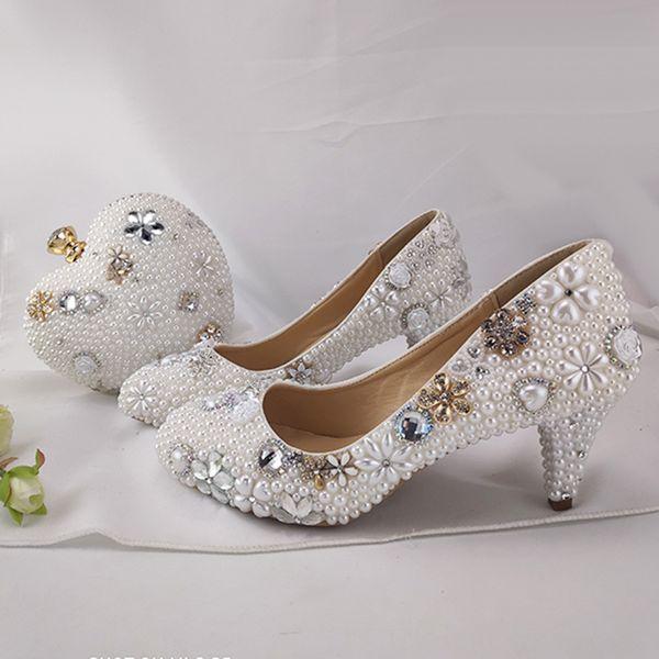 Vestido de novia perla blanca pura zapatos con tacón de 6 cm monedero Medio Madre de los zapatos de la novia a juego con Bombas Bolsa Prom Party