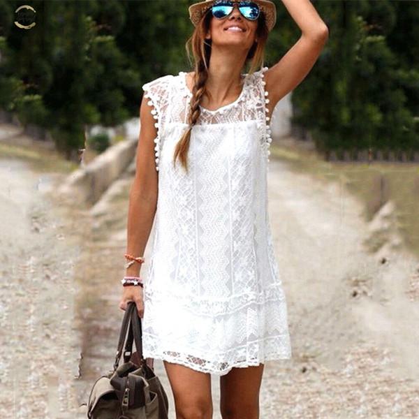 Sıcak Yaz Plaj Elbise Seksi Kadınlar Casual Kolsuz Plaj Kısa Elbise Püskül Katı Beyaz Mini Dantel Giydirme Plus Size tasarımcı kıyafetleri