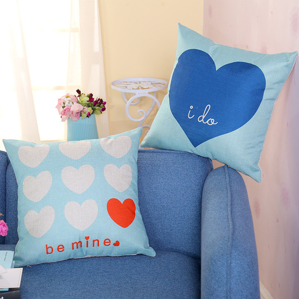 Love Pattern Pillowcase Flaxen Pillow Case Be Mine I Do Office Home Cushion Cover Thanksgiving Day Gifts Square Blue 5 5dsC1