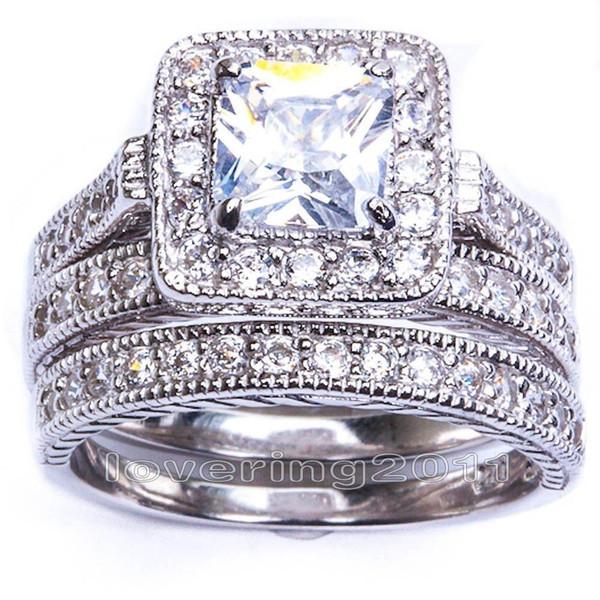 Size5/6/7/8/9/10 Hot sale Retro Vintage Princess Cut Jewelry 10KT white gold filled GF whitr topaz Women Wedding Bridal Ring set gift