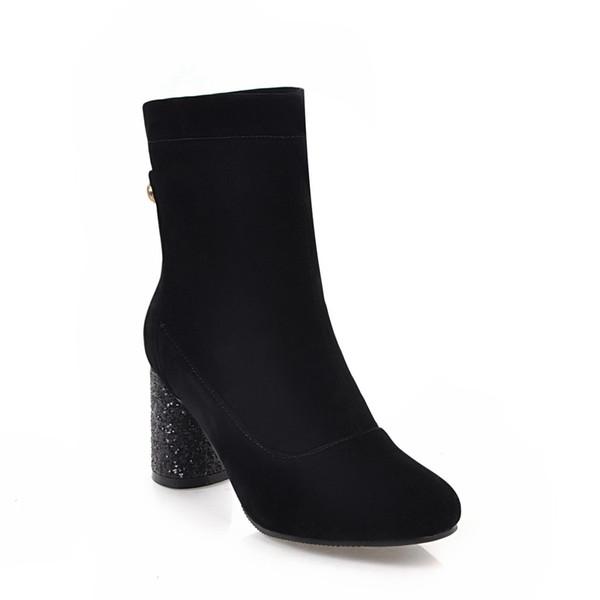 Hot Sale-Inverno e l'Europa di moda nuovi tacchi alti, con cerniera caldo, tacchi lucidi, stivaletti Oudi D1055