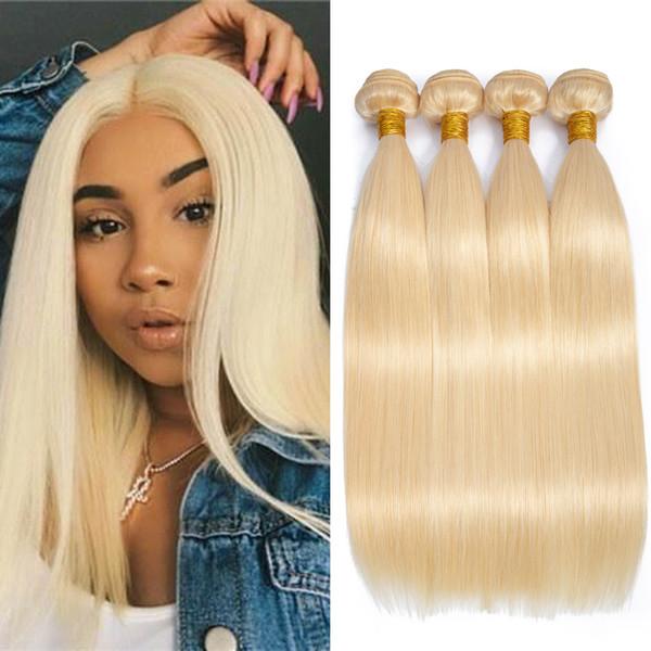 Dressmaker 4 Pcs/Lot Indian Virgin Human Hair 613 Blonde Bundles Straight Hair Bundles Blonde Hair Extensions Cheap For Women