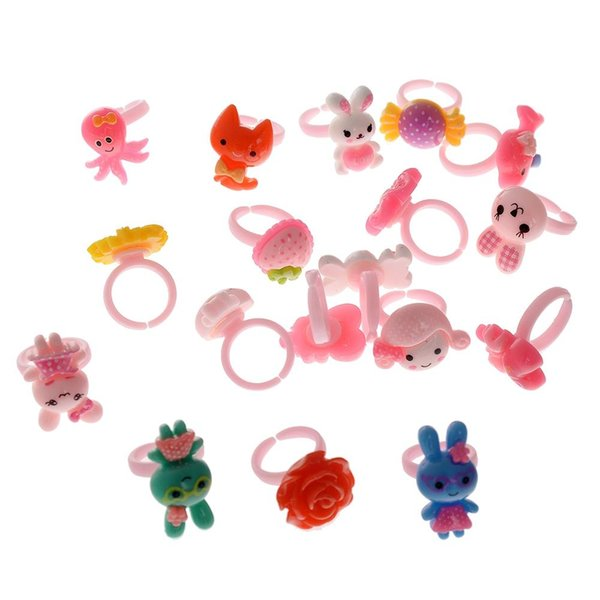 100pcs High Quality Solid Cartoon Ring For Children Birthday Creative Gift Random Style Jewelry Size Diameter 14