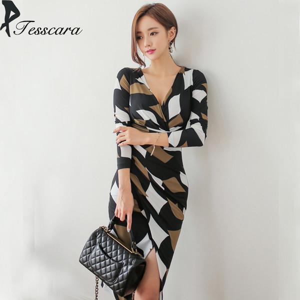 Mulheres primavera verão coreano lápis robe escritório senhora imprimir vintage elegante dress feminino com decote em v sexy vestidos de festa vestidos de design