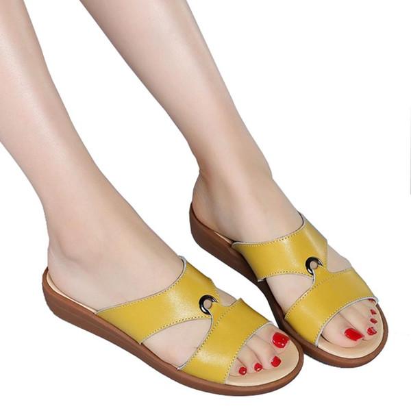 Summer Genuine Leather Open Toe Women'S Sandals Shoes Women Open Toe Elegant Flat Slippers Shoes Low Heel Flip Flop Women Slides
