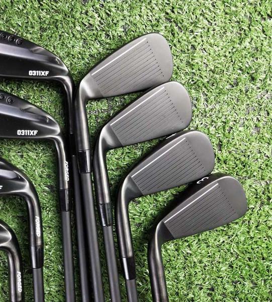2019 Herren 0311XF black Iron Golf, Golfschläger aus Schmiedeeisen 3-9, W, Ein Satz Stahlstangen mit Kopfbedeckung 8RS, Kostenlose Lieferung