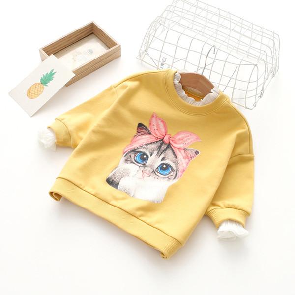 İlkbahar güz kız giyim Kız Çocuklar Uzun Kollu O-Boyun Karikatür Kedi tüm maç t gömlek kız çocuk% 100% pamuk rahat t gömlek