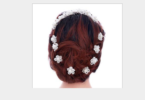 Braut U-förmige Perle Blume Haar Hammer Hand aufgereiht Perle Kopf Blume koreanische Perle