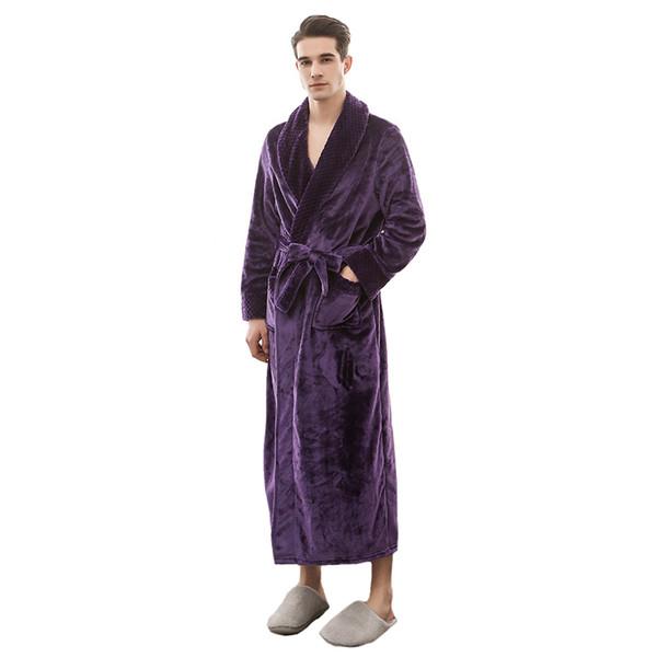 Winter NEW Men Sleepwear Flannel Warm Robe Kimono Bathrobe Casual Home Wear Male Dressing Gown Long Sleeve Nightgown M XL 3XL