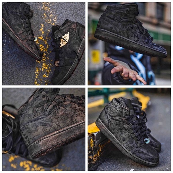 top popular CLOT x 1 Mid Fearless Edison Chen Basketball black silk double ribbed version Retro Mens running Shoes Sport Sneakers CU2804-100 2021