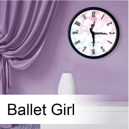 12 Inch Silent Quartz Wall Clock, Yoga Music Ballet Dance With Ballet Dancer Pointer for Ballet lover, Classroom Teacher