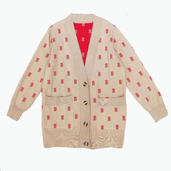 Designer clothing 2019 new autumn jacquard B letter V-neck knit cardigan coat female long-sleeved sweater trend