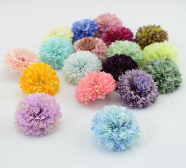 5pcs / lot flor de seda Cravos flor Decoração do casamento da noiva Bouquet noiva pulso flores artificiais