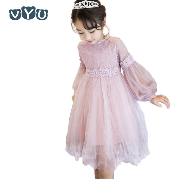 2018 New Kids Cute Lace Solid Long Lantern Sleeved Ball Party Princess Prom Tulle Tutu Dress Girls Costume