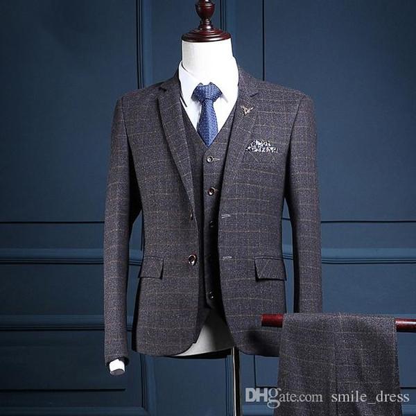 Suits For Men Groom Wear 3 Pieces Suits Formal Occasion Best Man Tuxedos Bridegroom Men (Jacket+Vest+Pants) SG012