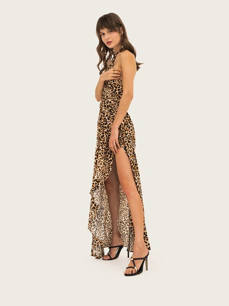 2019 New Summer Long Dress for Women Leopard Printed Women Sexy Dresses Criss-cross Split Halter Maxi Dresses Holiday Style S-2XL Size