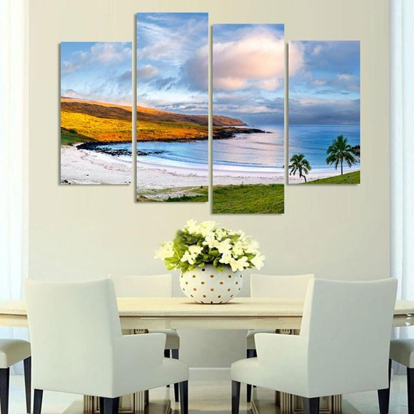 Modern Artwork Print 4 Pieces/Pcs Beautiful Sea Canvas Painting Framework Wall Hd Living Room Decoration Modular Picture Poster