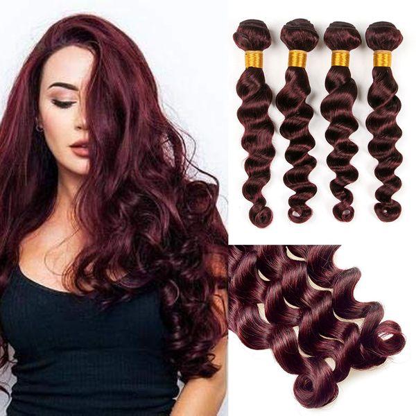Borgonha Brasileiro Virgem Do Cabelo Humano Tecelagem 3 Pcs Encaracolado Vinho Tecer Cabelo Vermelho 99 J onda Kinky Onda Solta Onda Do Corpo Onda Profunda Em Linha Reta cabelo