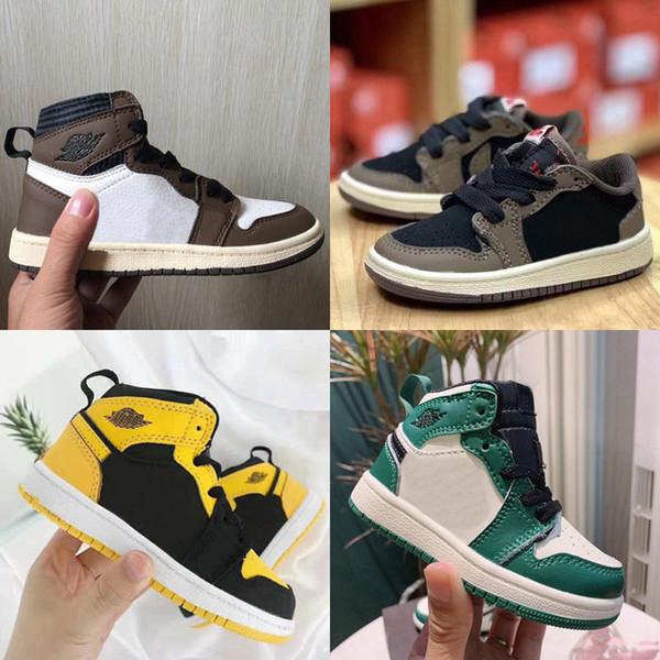 Kids Shoes Low Travis Scott scarpe da basket 1 High Olimpiadi Cactus Jack 1S Sneakers Sport Trainer bambino del bambino Scarpe da corsa Nero