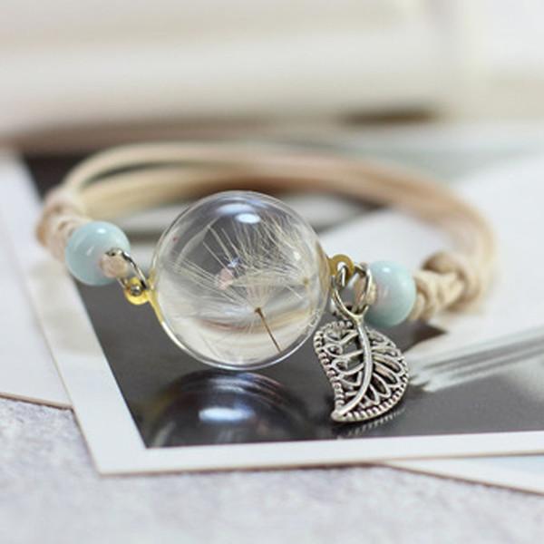 Новый бохо старинные браслет ручной работы реальный сухой цветок стеклянный шар переплетения регулируемые браслеты браслет для женщин мода
