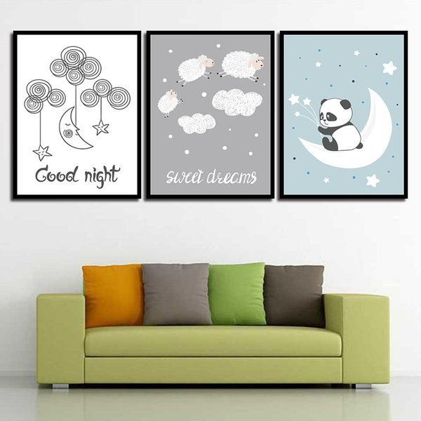 Modern Poster Wall Art HD Prints Nordic Style Cartoon Animal Panda Sheep Canvas Painting Hotel Family Modular Pictures Home Decor